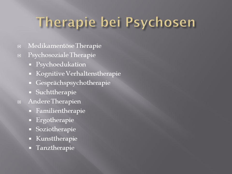 Medikamentöse Therapie Psychosoziale Therapie Psychoedukation Kognitive Verhaltenstherapie Gesprächspsychotherapie Suchttherapie Andere Therapien Fami