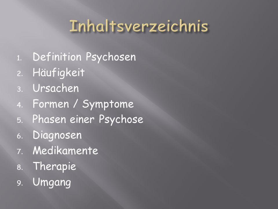 1. Definition Psychosen 2. Häufigkeit 3. Ursachen 4. Formen / Symptome 5. Phasen einer Psychose 6. Diagnosen 7. Medikamente 8. Therapie 9. Umgang