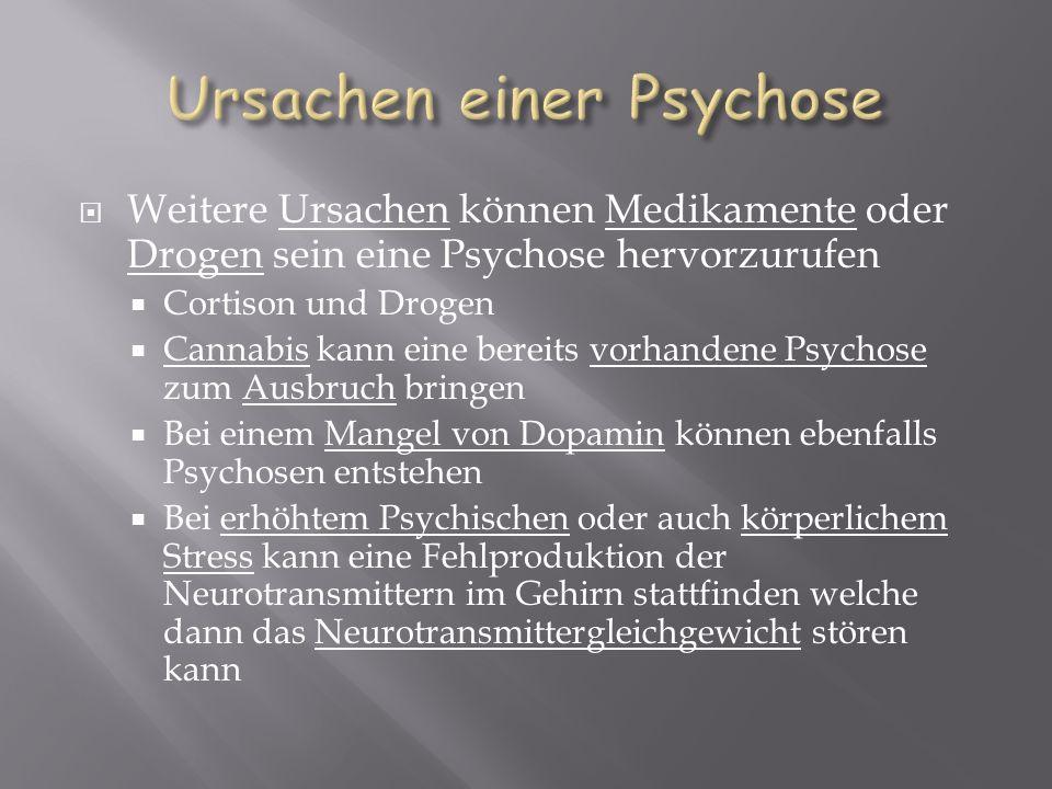 Weitere Ursachen können Medikamente oder Drogen sein eine Psychose hervorzurufen Cortison und Drogen Cannabis kann eine bereits vorhandene Psychose zu