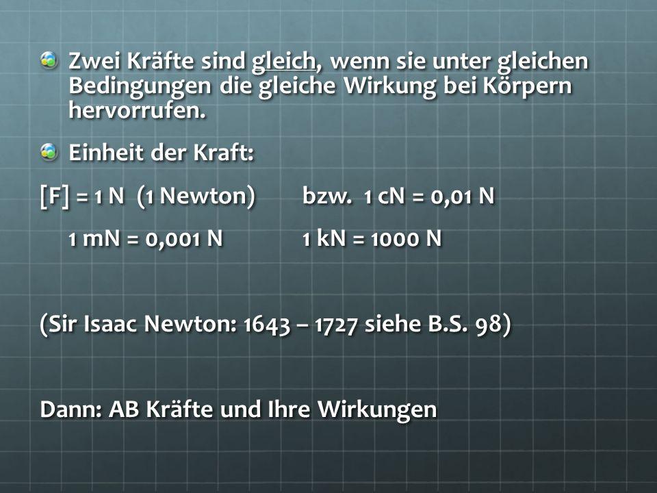 Zwei Kräfte sind gleich, wenn sie unter gleichen Bedingungen die gleiche Wirkung bei Körpern hervorrufen. Einheit der Kraft: [F] = 1 N (1 Newton)bzw.