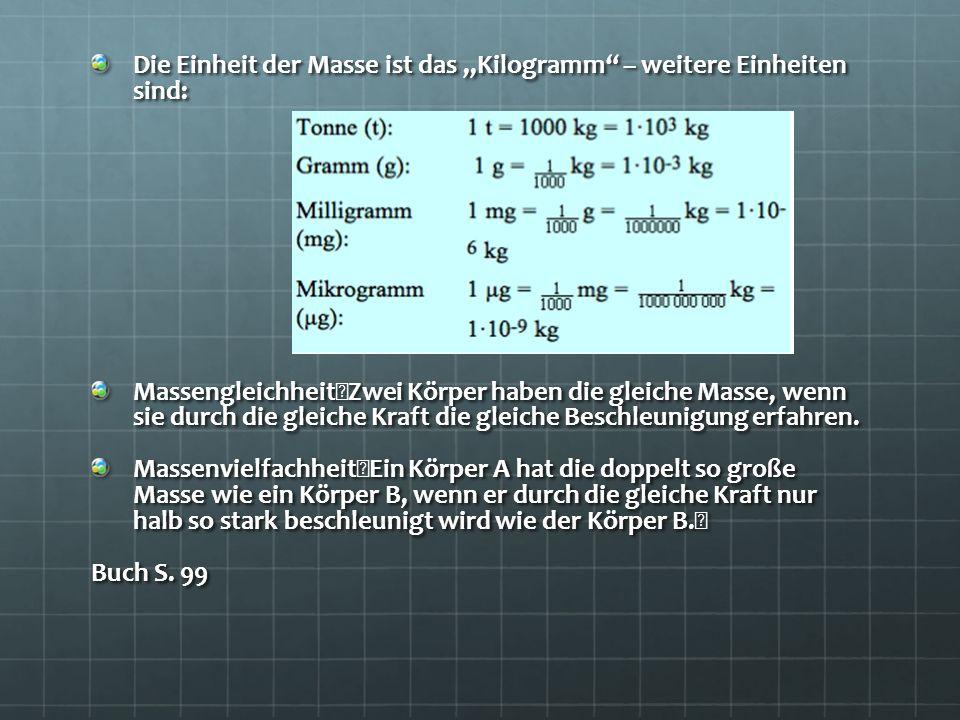 Die Einheit der Masse ist das Kilogramm – weitere Einheiten sind: Massengleichheit Zwei Körper haben die gleiche Masse, wenn sie durch die gleiche Kra