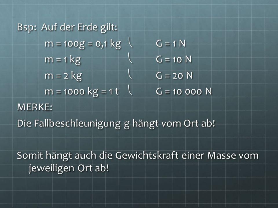 Bsp: Auf der Erde gilt: m = 100g = 0,1 kg G = 1 N m = 1 kg G = 10 N m = 2 kg G = 20 N m = 1000 kg = 1 t G = 10 000 N MERKE: Die Fallbeschleunigung g h