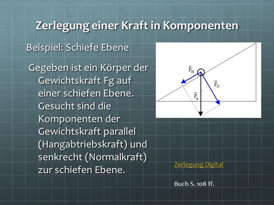 Zerlegung einer Kraft in Komponenten Beispiel: Schiefe Ebene Gegeben ist ein Körper der Gewichtskraft Fg auf einer schiefen Ebene. Gesucht sind die Ko