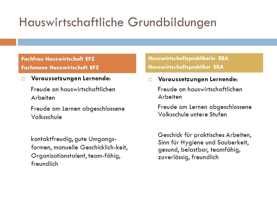 Hauswirtschaftliche Grundbildungen Voraussetzungen Lernende: Freude an hauswirtschaftlichen Arbeiten Freude am Lernen abgeschlossene Volksschule konta