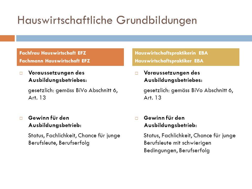 Hauswirtschaftliche Grundbildungen Voraussetzungen des Ausbildungsbetriebes: gesetzlich: gemäss BiVo Abschnitt 6, Art. 13 Gewinn für den Ausbildungsbe