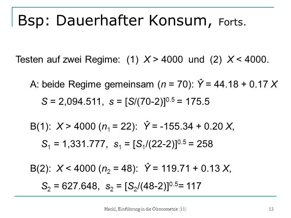 Hackl, Einführung in die Ökonometrie (11) 13 Bsp: Dauerhafter Konsum, Forts. Testen auf zwei Regime: (1) X > 4000 und (2) X < 4000. A: beide Regime ge