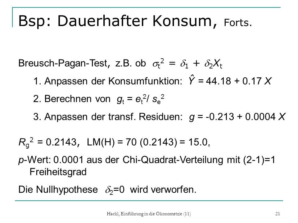 Hackl, Einführung in die Ökonometrie (11) 21 Bsp: Dauerhafter Konsum, Forts. Breusch-Pagan-Test, z.B. ob t 2 = 1 + 2 X t 1.Anpassen der Konsumfunktion