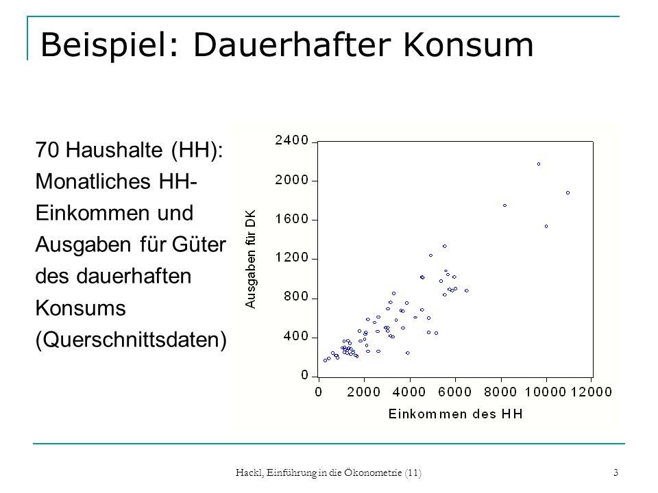 Hackl, Einführung in die Ökonometrie (11) 3 Beispiel: Dauerhafter Konsum 70 Haushalte (HH): Monatliches HH- Einkommen und Ausgaben für Güter des dauer