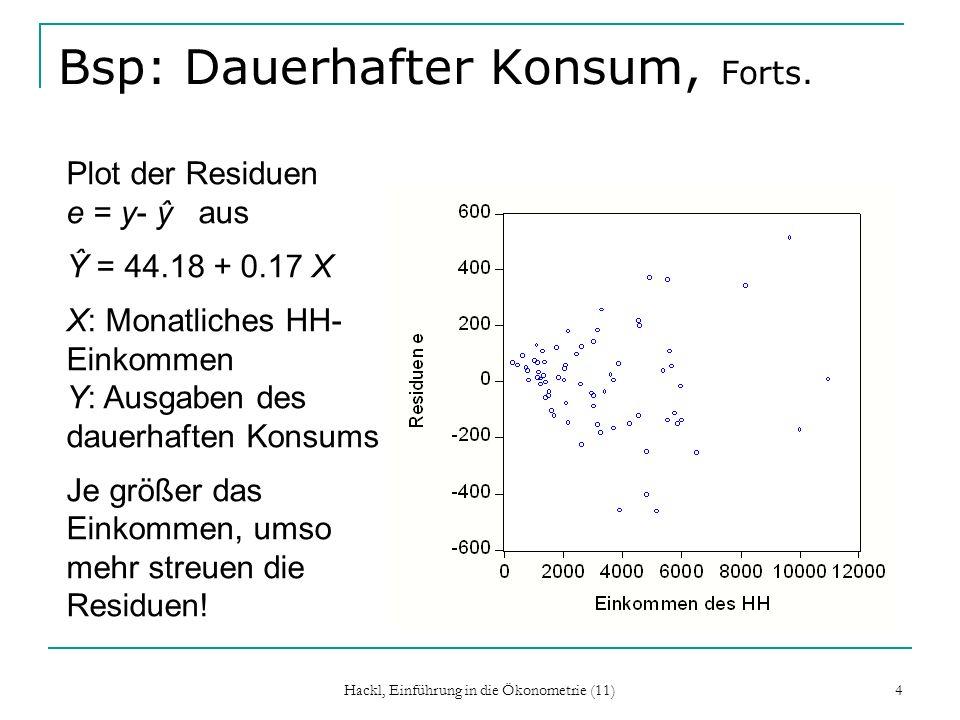 Hackl, Einführung in die Ökonometrie (11) 4 Bsp: Dauerhafter Konsum, Forts. Plot der Residuen e = y- ŷ aus Ŷ = 44.18 + 0.17 X X: Monatliches HH- Einko