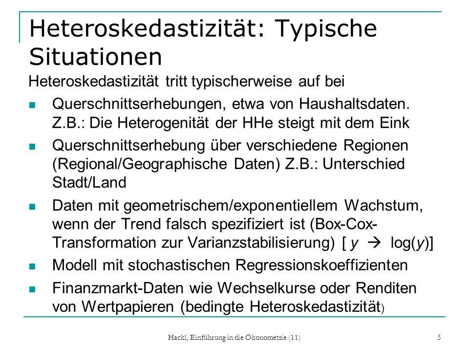 Hackl, Einführung in die Ökonometrie (11) 6 Beispiel: Stochastische Regressionskoeffizienten Betrachten wir das Modell Y t = + t X t + u t, t = + t Zwar ist t ) = aber t ist hier nicht konstant.