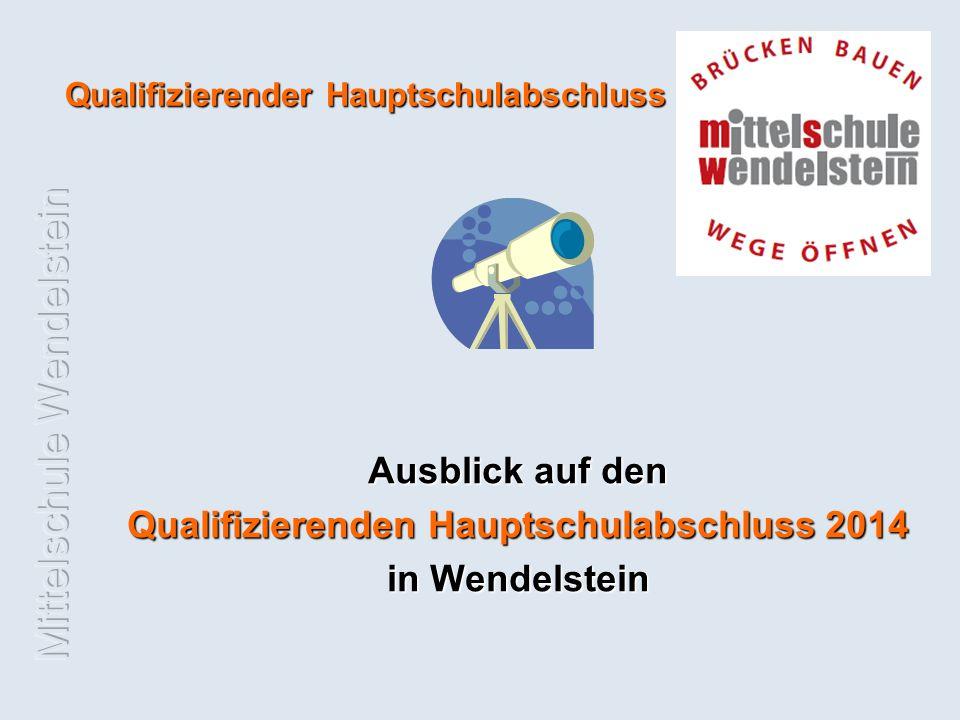Qualifizierender Hauptschulabschluss Ausblick auf den Qualifizierenden Hauptschulabschluss 2014 in Wendelstein