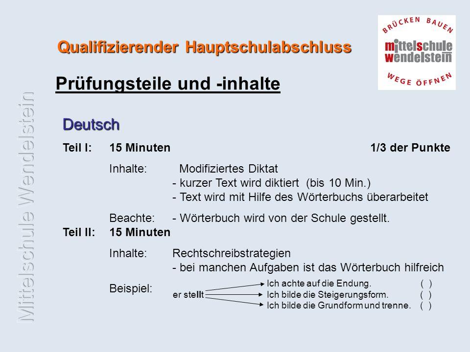 Qualifizierender Hauptschulabschluss Prüfungsteile und -inhalte Deutsch Teil I:15 Minuten 1/3 der Punkte Inhalte: Modifiziertes Diktat - kurzer Text wird diktiert (bis 10 Min.) - Text wird mit Hilfe des Wörterbuchs überarbeitet Beachte: - Wörterbuch wird von der Schule gestellt.