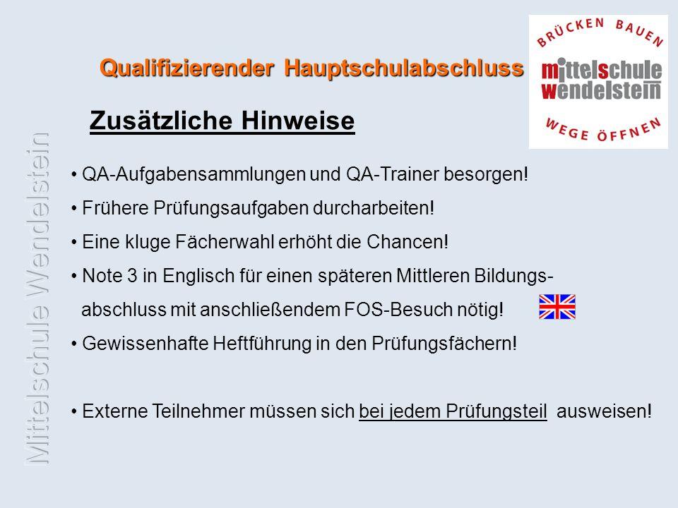 Qualifizierender Hauptschulabschluss Zusätzliche Hinweise QA-Aufgabensammlungen und QA-Trainer besorgen.