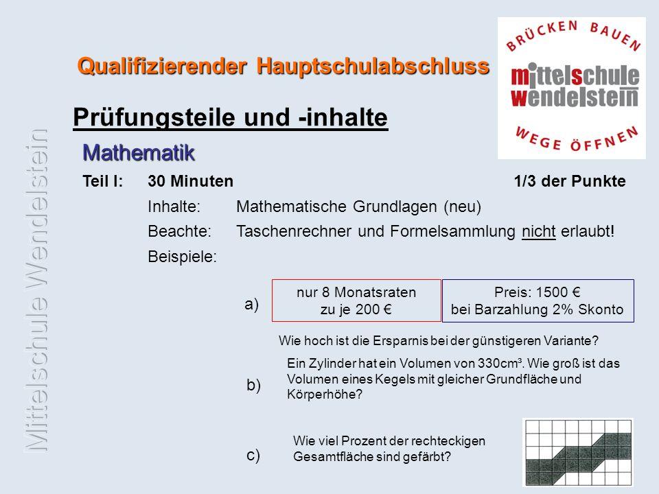 Qualifizierender Hauptschulabschluss Prüfungsteile und -inhalte Mathematik Teil I:30 Minuten 1/3 der Punkte Inhalte: Mathematische Grundlagen (neu) Beachte: Taschenrechner und Formelsammlung nicht erlaubt.