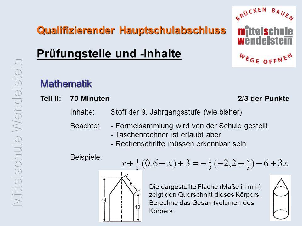 Qualifizierender Hauptschulabschluss Prüfungsteile und -inhalte Mathematik Teil II:70 Minuten 2/3 der Punkte Inhalte: Stoff der 9.
