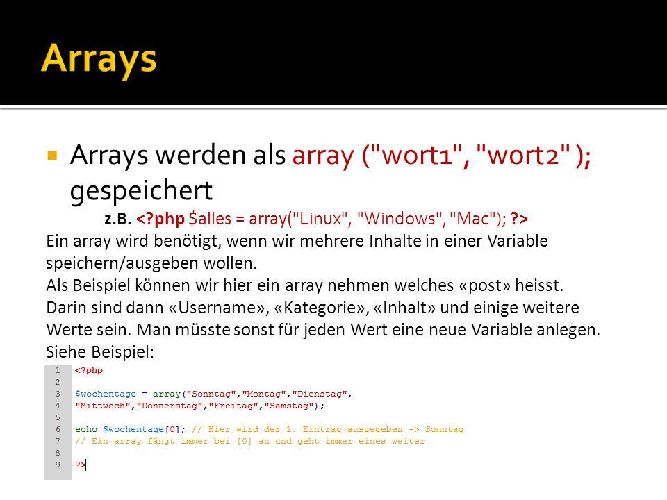 Arrays werden als array (