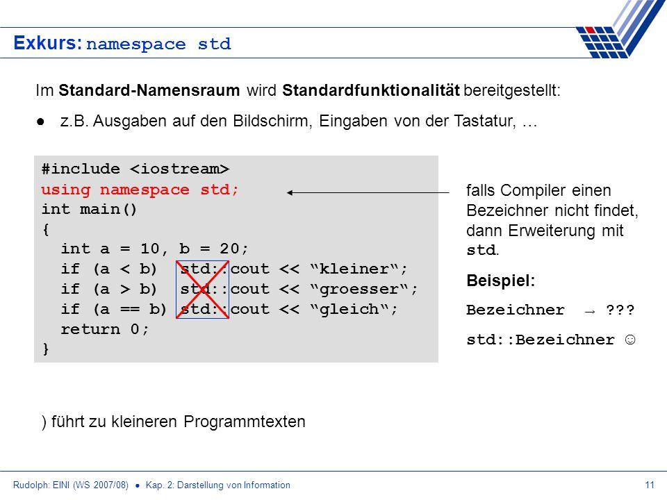 Rudolph: EINI (WS 2007/08) Kap. 2: Darstellung von Information11 Exkurs: namespace std Im Standard-Namensraum wird Standardfunktionalität bereitgestel