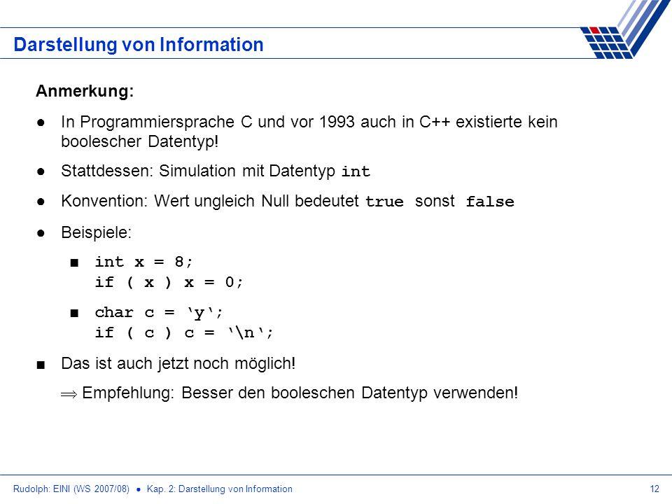 Rudolph: EINI (WS 2007/08) Kap. 2: Darstellung von Information12 Darstellung von Information Anmerkung: In Programmiersprache C und vor 1993 auch in C