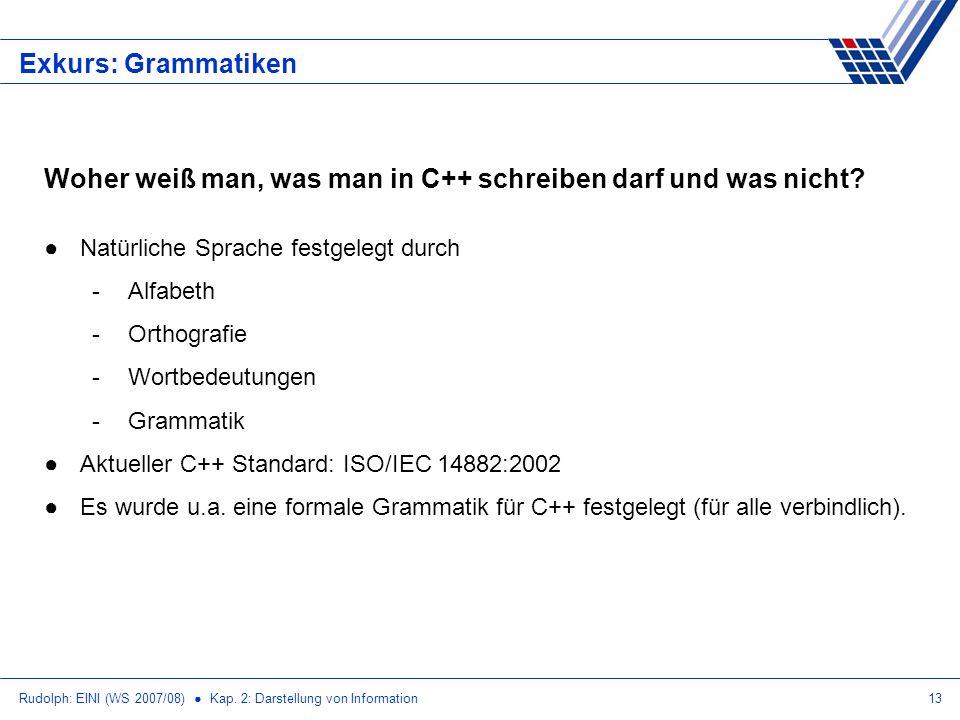 Rudolph: EINI (WS 2007/08) Kap. 2: Darstellung von Information13 Exkurs: Grammatiken Woher weiß man, was man in C++ schreiben darf und was nicht? Natü