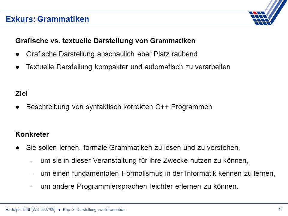 Rudolph: EINI (WS 2007/08) Kap. 2: Darstellung von Information16 Exkurs: Grammatiken Grafische vs. textuelle Darstellung von Grammatiken Grafische Dar