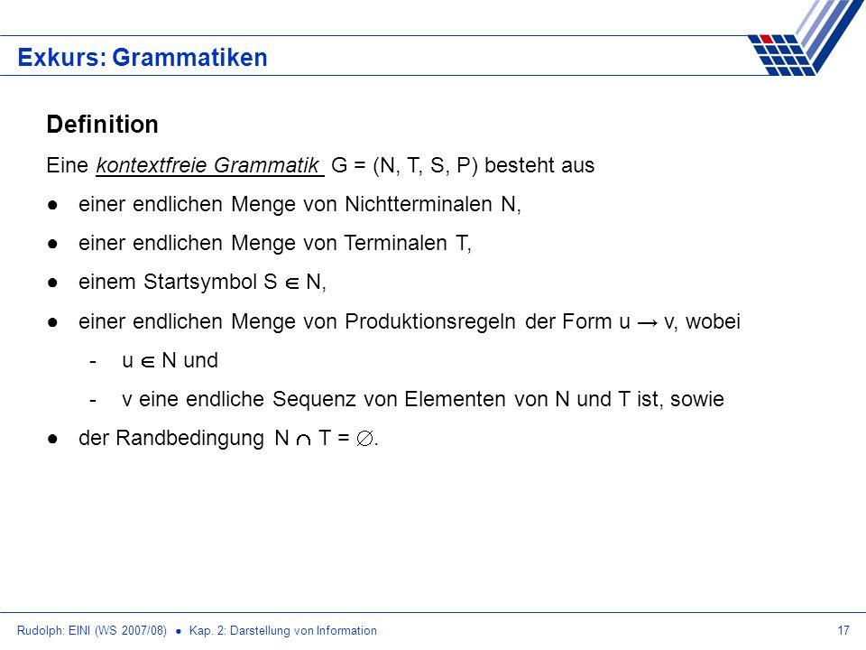 Rudolph: EINI (WS 2007/08) Kap. 2: Darstellung von Information17 Exkurs: Grammatiken Definition Eine kontextfreie Grammatik G = (N, T, S, P) besteht a