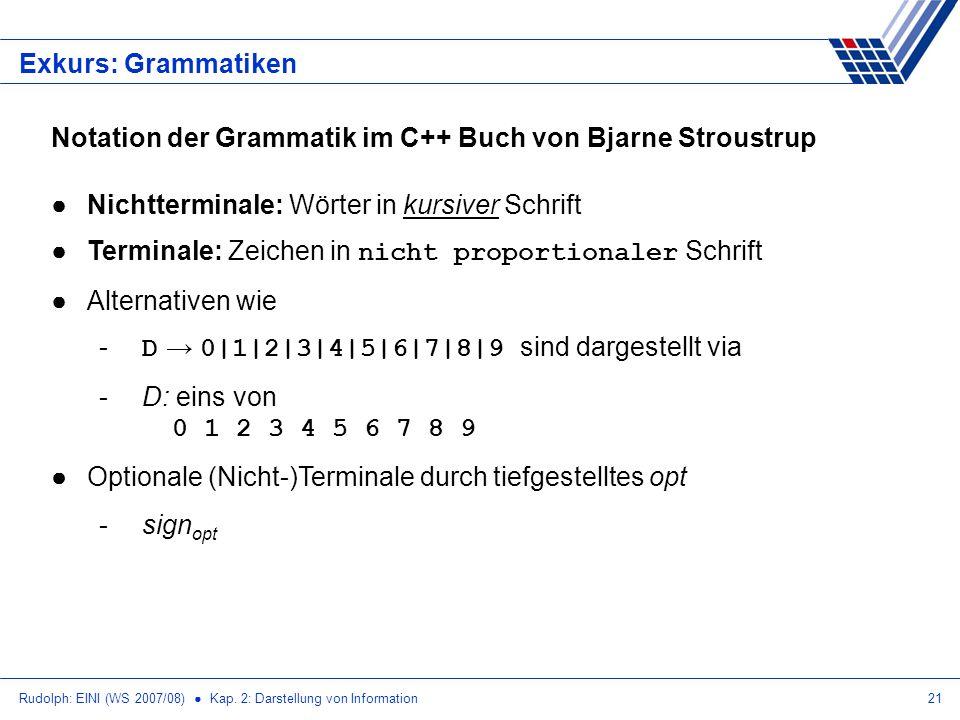 Rudolph: EINI (WS 2007/08) Kap. 2: Darstellung von Information21 Exkurs: Grammatiken Notation der Grammatik im C++ Buch von Bjarne Stroustrup Nichtter