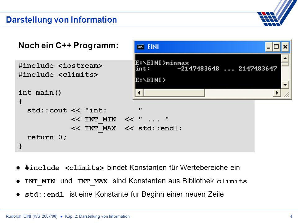 Rudolph: EINI (WS 2007/08) Kap. 2: Darstellung von Information4 Noch ein C++ Programm: Darstellung von Information #include int main() { std::cout <<