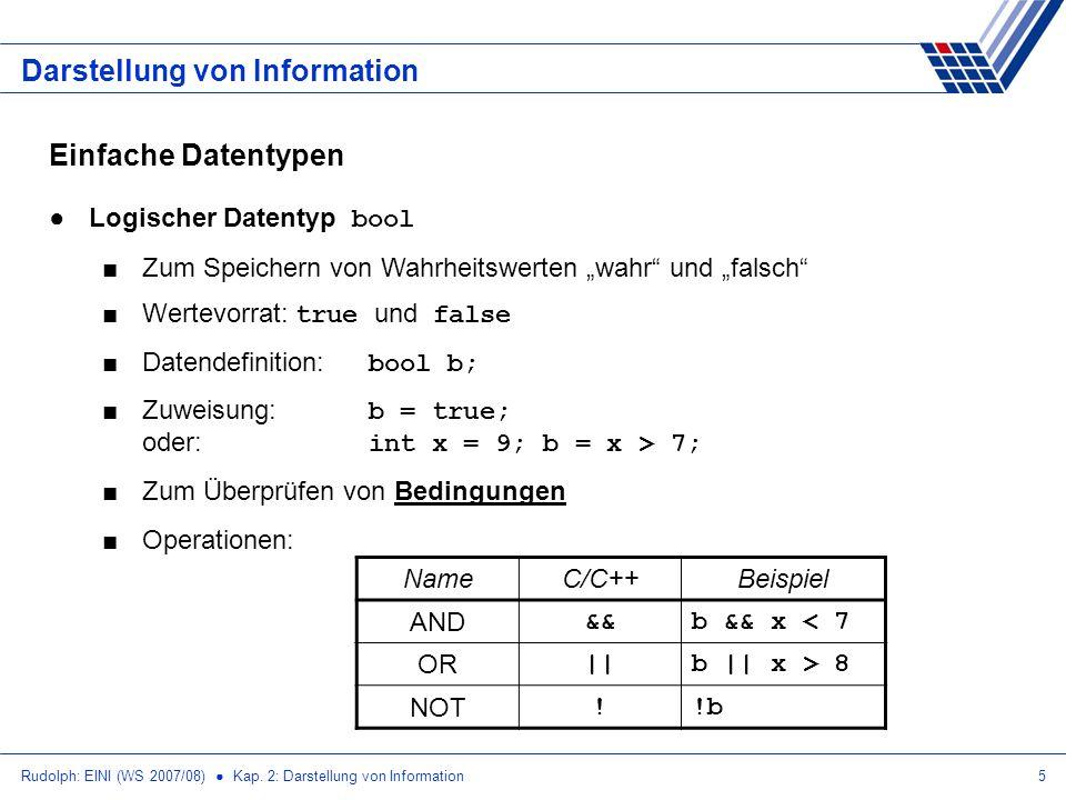 Rudolph: EINI (WS 2007/08) Kap. 2: Darstellung von Information5 Darstellung von Information Einfache Datentypen Logischer Datentyp bool Zum Speichern