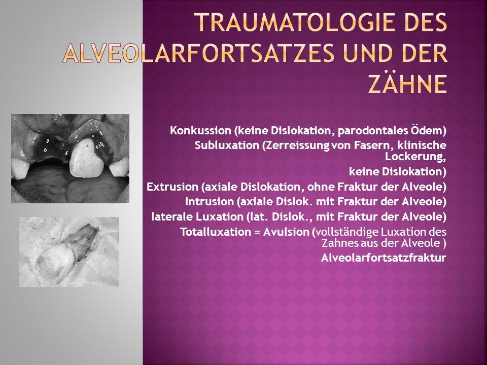 Konkussion (keine Dislokation, parodontales Ödem) Subluxation (Zerreissung von Fasern, klinische Lockerung, keine Dislokation) Extrusion (axiale Dislo