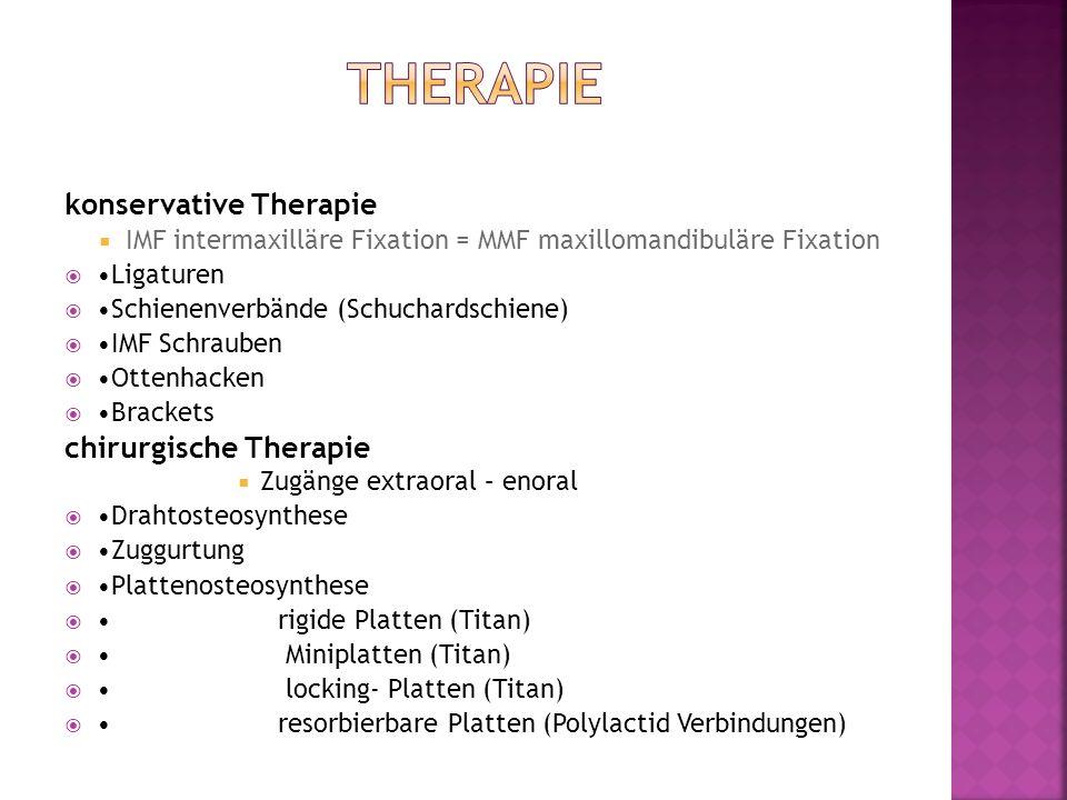 konservative Therapie IMF intermaxilläre Fixation = MMF maxillomandibuläre Fixation Ligaturen Schienenverbände (Schuchardschiene) IMF Schrauben Ottenh