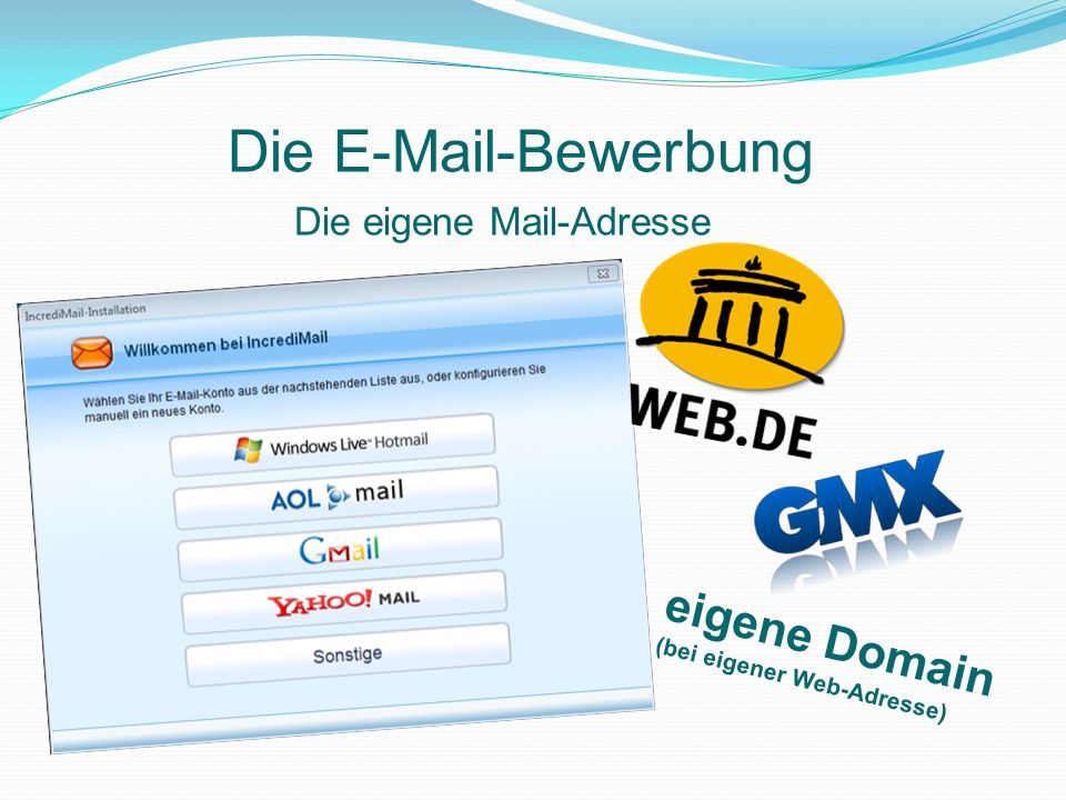 Die eigene Mail -Adresse Die E-Mail-Bewerbung Voraussetzung: Eine eigene seri ö se Mailadresse, bei der der Posteingang regelm äß ig abgerufen wird