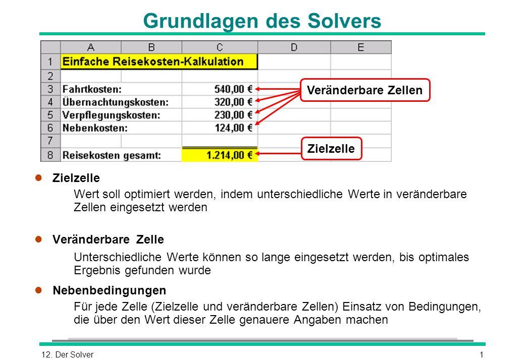 12. Der Solver1 Grundlagen des Solvers l Zielzelle Wert soll optimiert werden, indem unterschiedliche Werte in veränderbare Zellen eingesetzt werden l