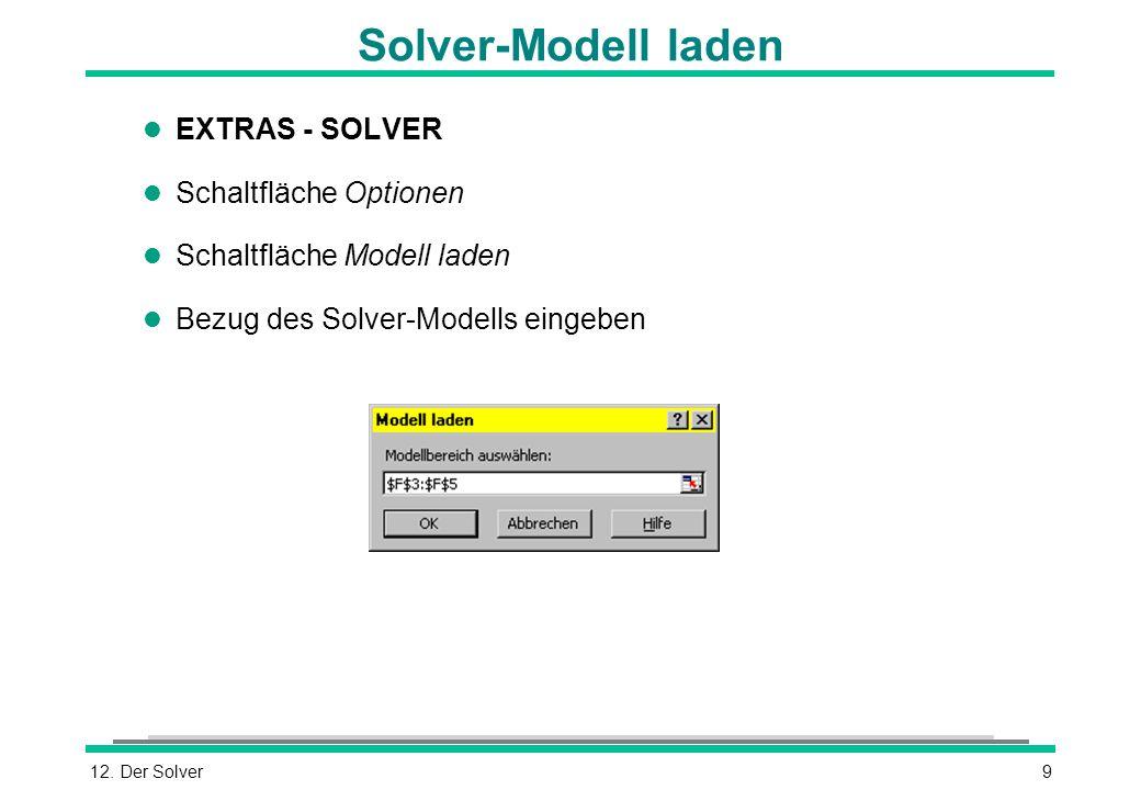 12. Der Solver9 Solver-Modell laden l EXTRAS - SOLVER l Schaltfläche Optionen l Schaltfläche Modell laden l Bezug des Solver-Modells eingeben