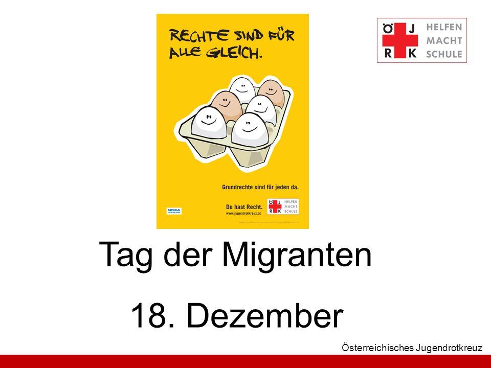 Österreichisches Jugendrotkreuz Tag der Migranten 18. Dezember