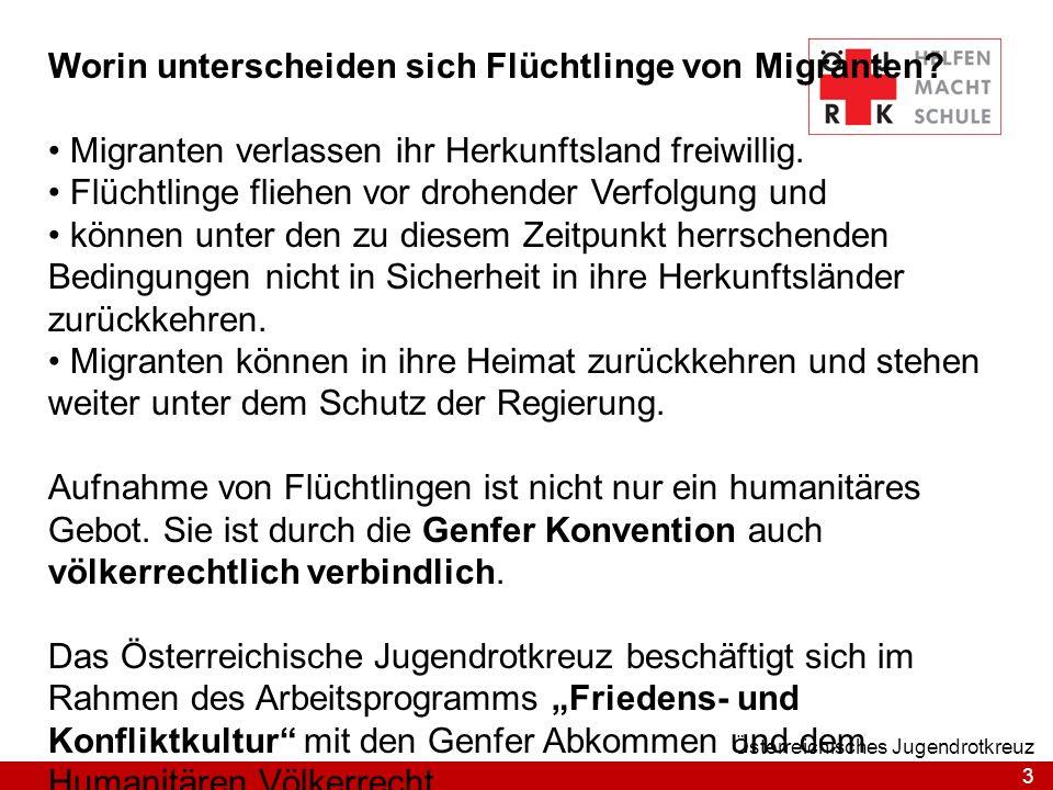 3 Österreichisches Jugendrotkreuz Worin unterscheiden sich Flüchtlinge von Migranten? Migranten verlassen ihr Herkunftsland freiwillig. Flüchtlinge fl