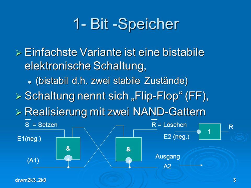 drwm2k3..2k93 1- Bit -Speicher Einfachste Variante ist eine bistabile elektronische Schaltung, Einfachste Variante ist eine bistabile elektronische Sc