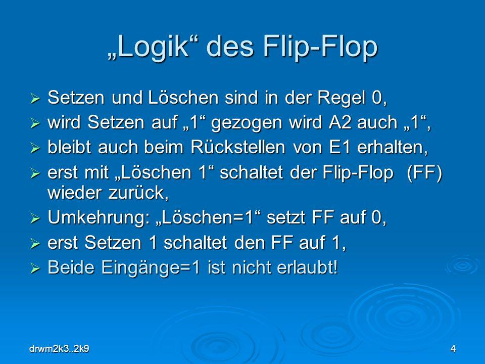 drwm2k3..2k94 Logik des Flip-Flop Setzen und Löschen sind in der Regel 0, Setzen und Löschen sind in der Regel 0, wird Setzen auf 1 gezogen wird A2 au