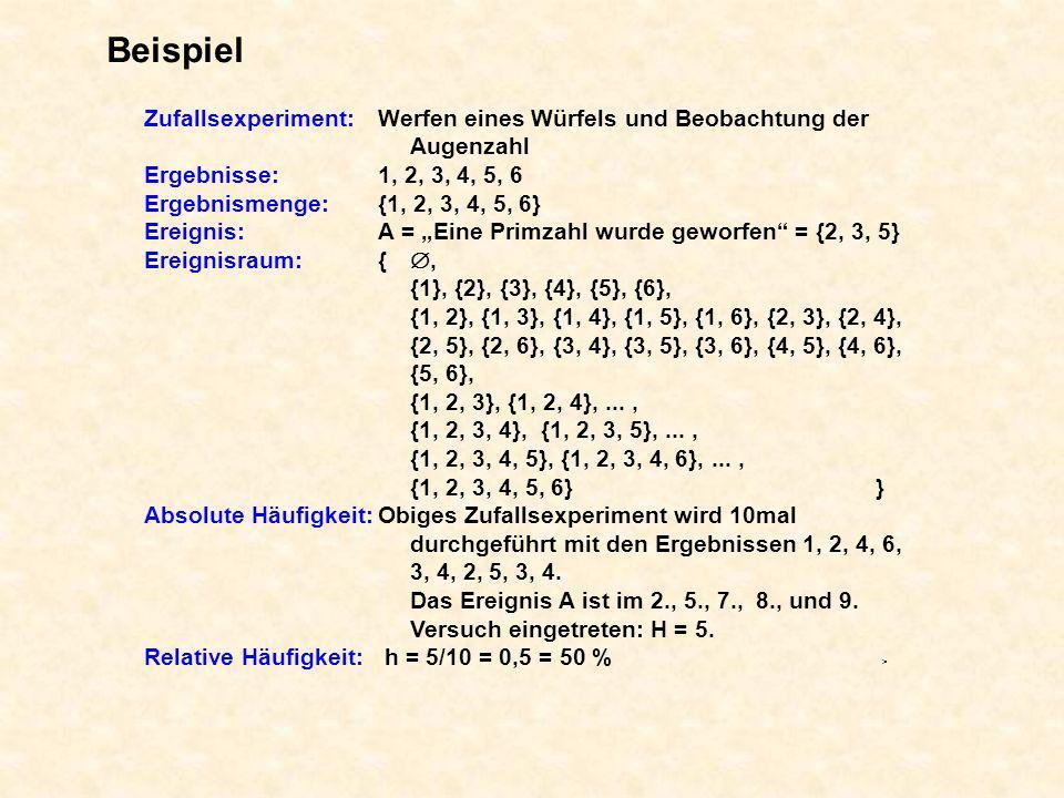 Beispiel Zufallsexperiment:Werfen eines Würfels und Beobachtung der Augenzahl Ergebnisse:1, 2, 3, 4, 5, 6 Ergebnismenge:{1, 2, 3, 4, 5, 6} Ereignis:A
