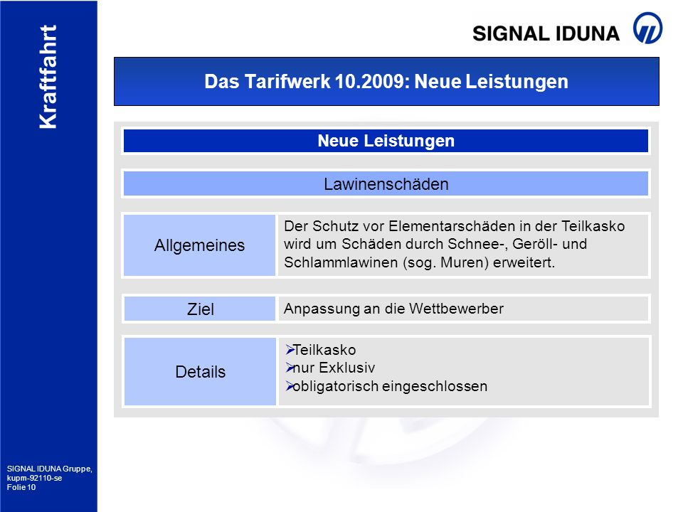 SIGNAL IDUNA Gruppe, kupm-92110-se Folie 10 Kraftfahrt Das Tarifwerk 10.2009: Neue Leistungen Neue Leistungen Allgemeines Der Schutz vor Elementarschä