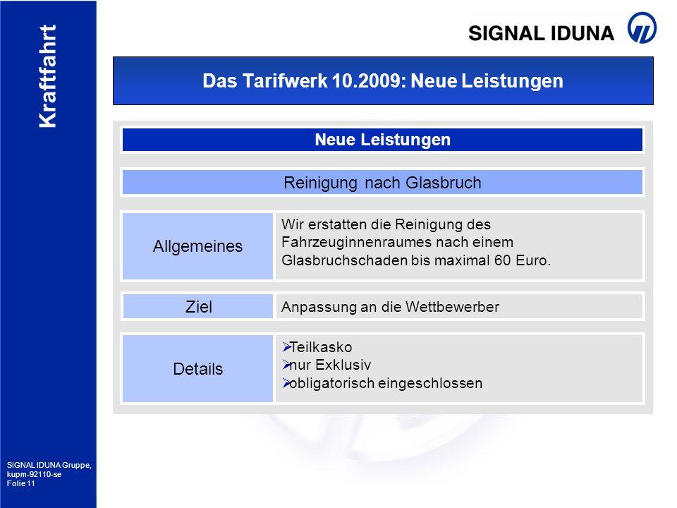 SIGNAL IDUNA Gruppe, kupm-92110-se Folie 11 Kraftfahrt Das Tarifwerk 10.2009: Neue Leistungen Neue Leistungen Allgemeines Wir erstatten die Reinigung