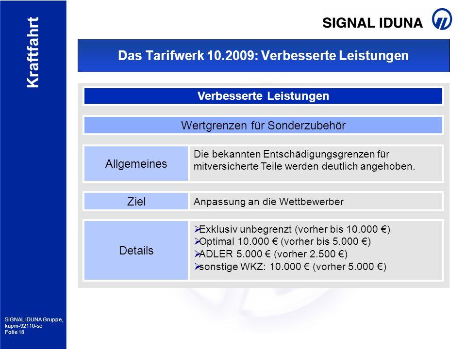 SIGNAL IDUNA Gruppe, kupm-92110-se Folie 18 Kraftfahrt Das Tarifwerk 10.2009: Verbesserte Leistungen Verbesserte Leistungen Allgemeines Die bekannten