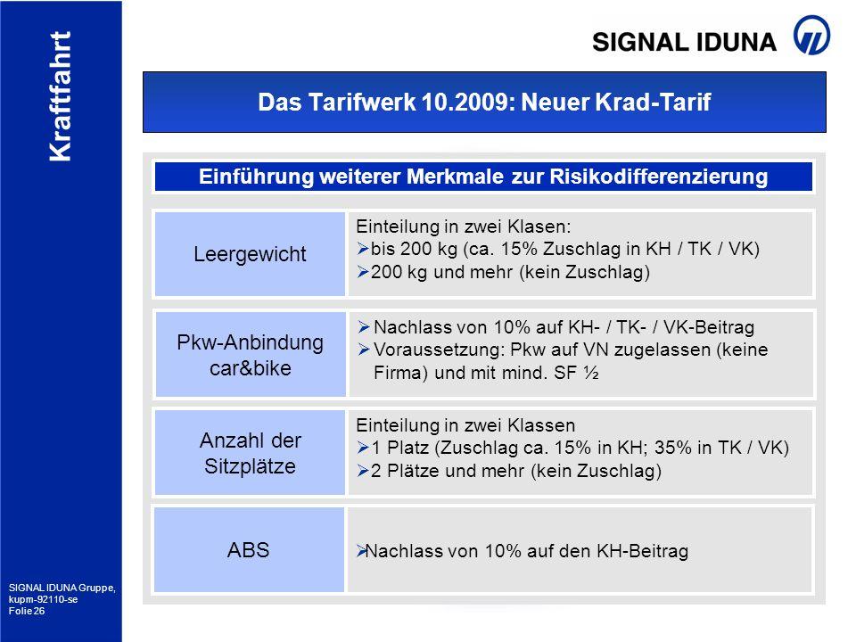 SIGNAL IDUNA Gruppe, kupm-92110-se Folie 26 Kraftfahrt Das Tarifwerk 10.2009: Neuer Krad-Tarif Einführung weiterer Merkmale zur Risikodifferenzierung
