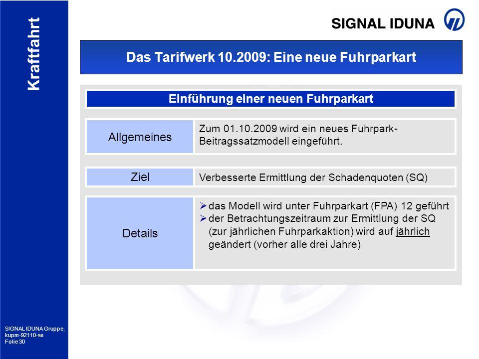 SIGNAL IDUNA Gruppe, kupm-92110-se Folie 30 Kraftfahrt Das Tarifwerk 10.2009: Eine neue Fuhrparkart Einführung einer neuen Fuhrparkart Allgemeines Zum