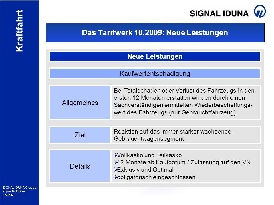 SIGNAL IDUNA Gruppe, kupm-92110-se Folie 4 Kraftfahrt Das Tarifwerk 10.2009: Neue Leistungen Neue Leistungen Allgemeines Bei Totalschaden oder Verlust