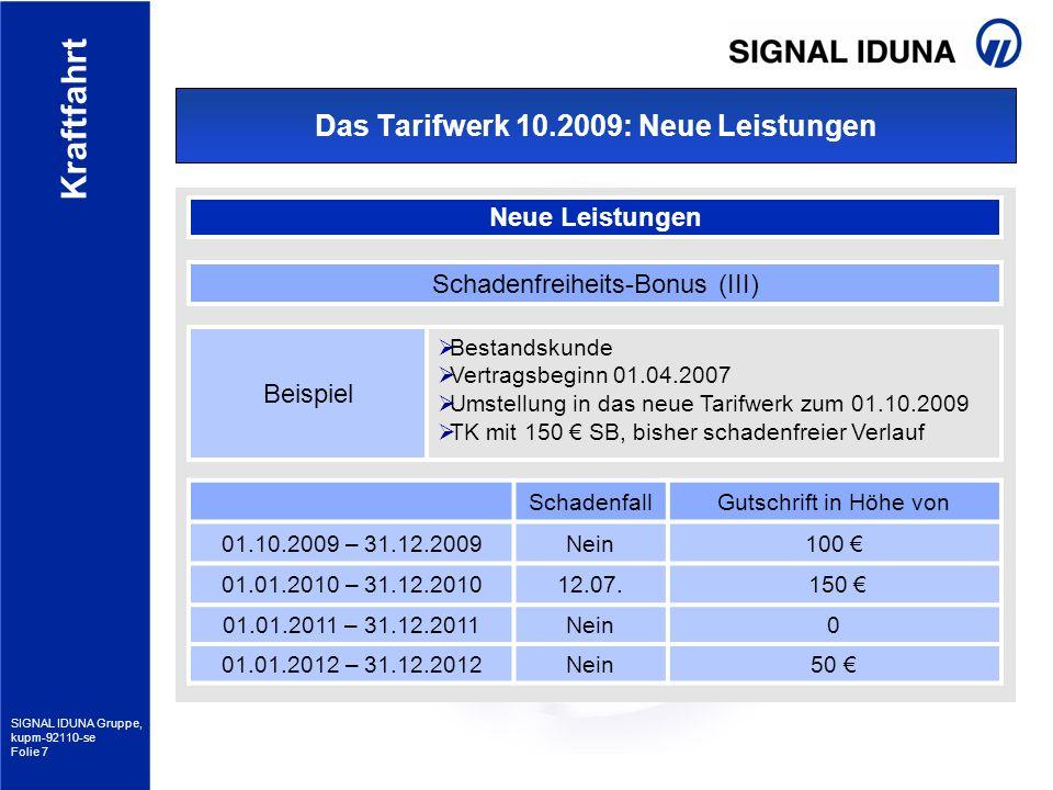 SIGNAL IDUNA Gruppe, kupm-92110-se Folie 7 Kraftfahrt Das Tarifwerk 10.2009: Neue Leistungen Neue Leistungen Schadenfreiheits-Bonus (III) SchadenfallG