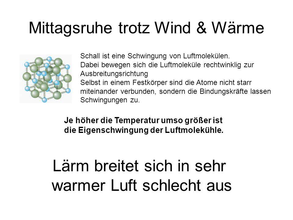 Mittagsruhe trotz Wind & Wärme Schall ist eine Schwingung von Luftmolekülen.