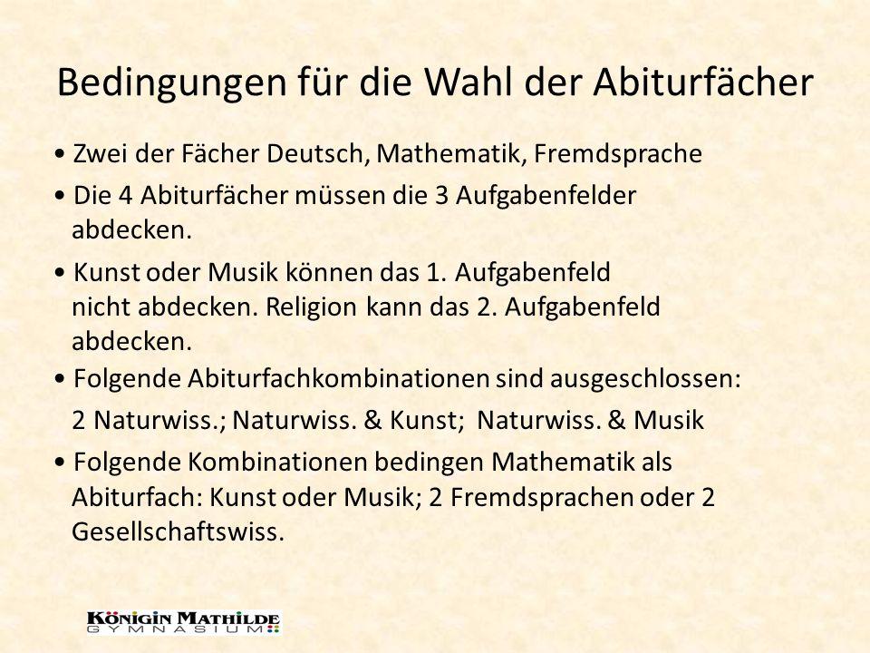 Bedingungen für die Wahl der Abiturfächer Folgende Abiturfachkombinationen sind ausgeschlossen: 2 Naturwiss.; Naturwiss.