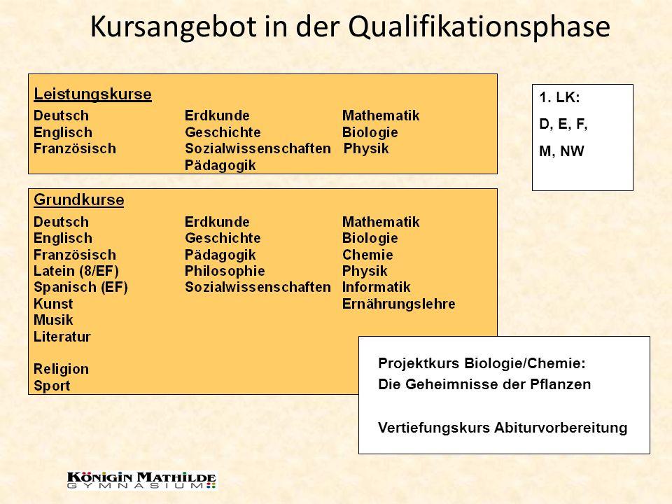 Kursangebot in der Qualifikationsphase Projektkurs Biologie/Chemie: Die Geheimnisse der Pflanzen Vertiefungskurs Abiturvorbereitung 1.