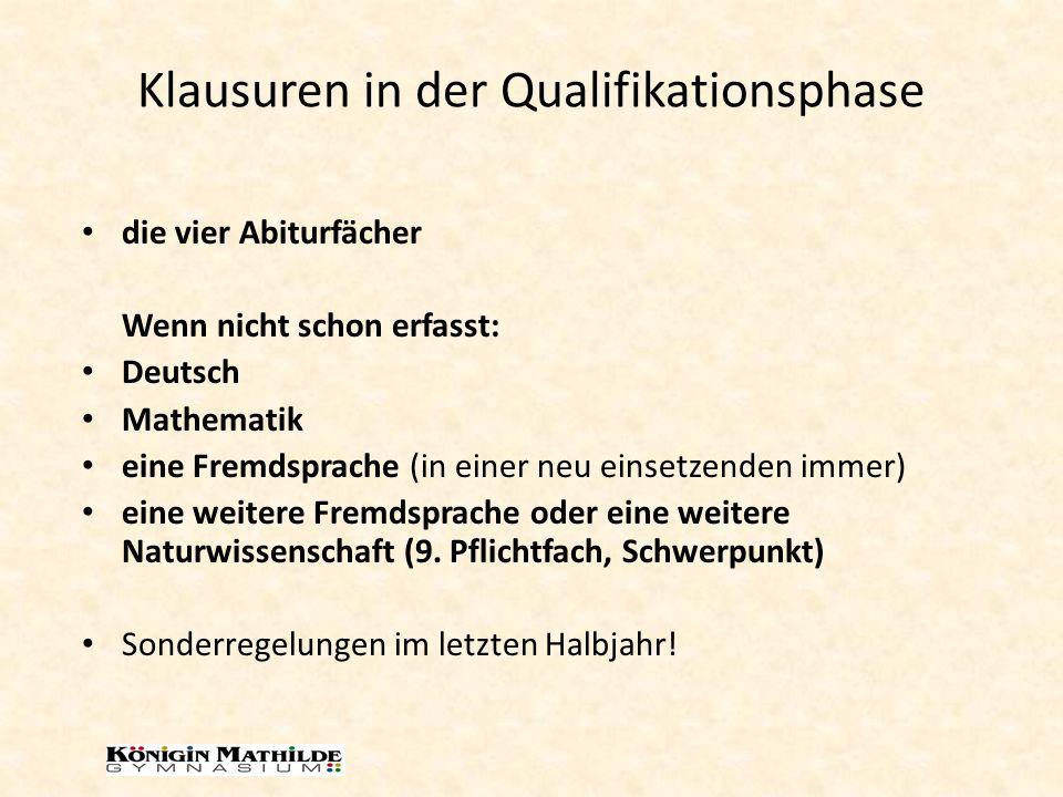 Klausuren in der Qualifikationsphase die vier Abiturfächer Wenn nicht schon erfasst: Deutsch Mathematik eine Fremdsprache (in einer neu einsetzenden immer) eine weitere Fremdsprache oder eine weitere Naturwissenschaft (9.
