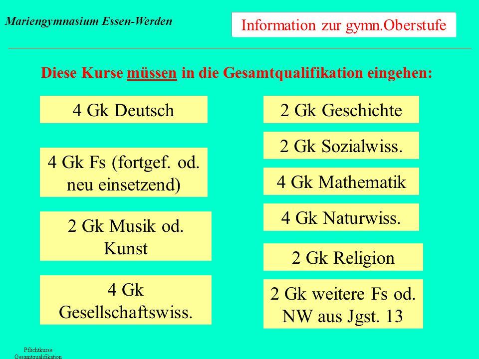 Information zur gymn.Oberstufe Diese Kurse müssen in die Gesamtqualifikation eingehen: Pflichtkurse Gesamtqualifikation 4 Gk Deutsch 4 Gk Fs (fortgef.
